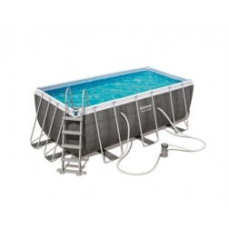 Rectangular Power Frame Pool 412x201x122 Rattan